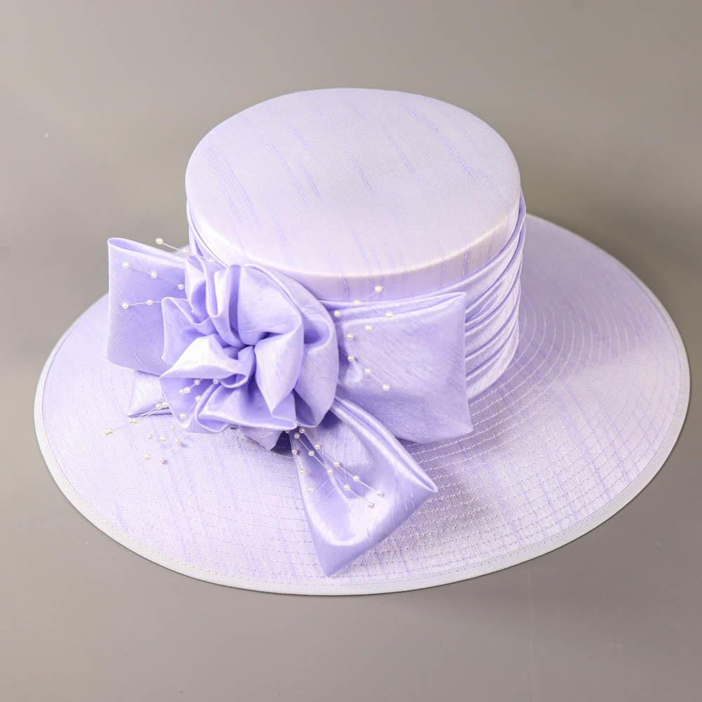 NIGEL RAYMENT - Lavender lilac purple hat, with bow and pearl detail, internal circumference 55cm, - Image 5 of 7