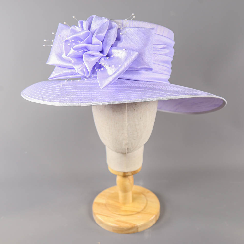 NIGEL RAYMENT - Lavender lilac purple hat, with bow and pearl detail, internal circumference 55cm,
