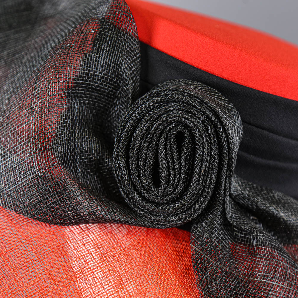 CAPPELLI CONDICI - Red and black occasion hat, with feather detail, internal circumference 55cm, - Image 5 of 8