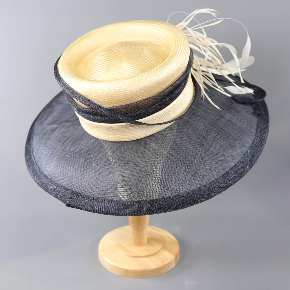 A HAT STUDIO DESIGN - Navy blue and straw occasion hat, with feather and twirl detail, internal - Image 3 of 6