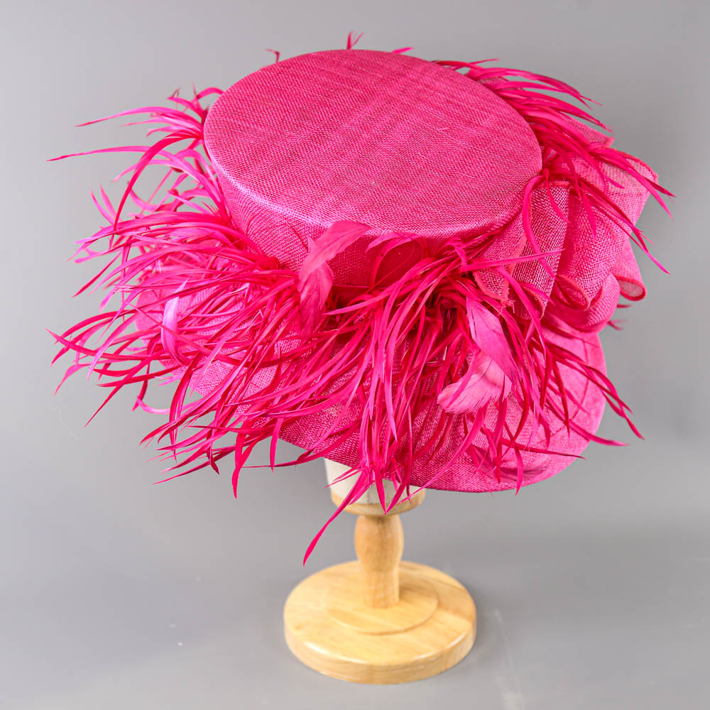 PETER BETTLEY LONDON - Fuchsia pink occasion hat, with feather and bow detail, internal - Image 3 of 7