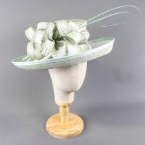 VICTORIA ANN - Powder blue occasion hat, with stick decoration, internal circumference 55cm, brim