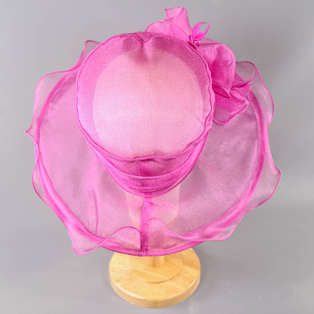 SUZANNE BETTLEY - Pink organza occasion hat, with organza rose and feather detail, internal - Image 3 of 6