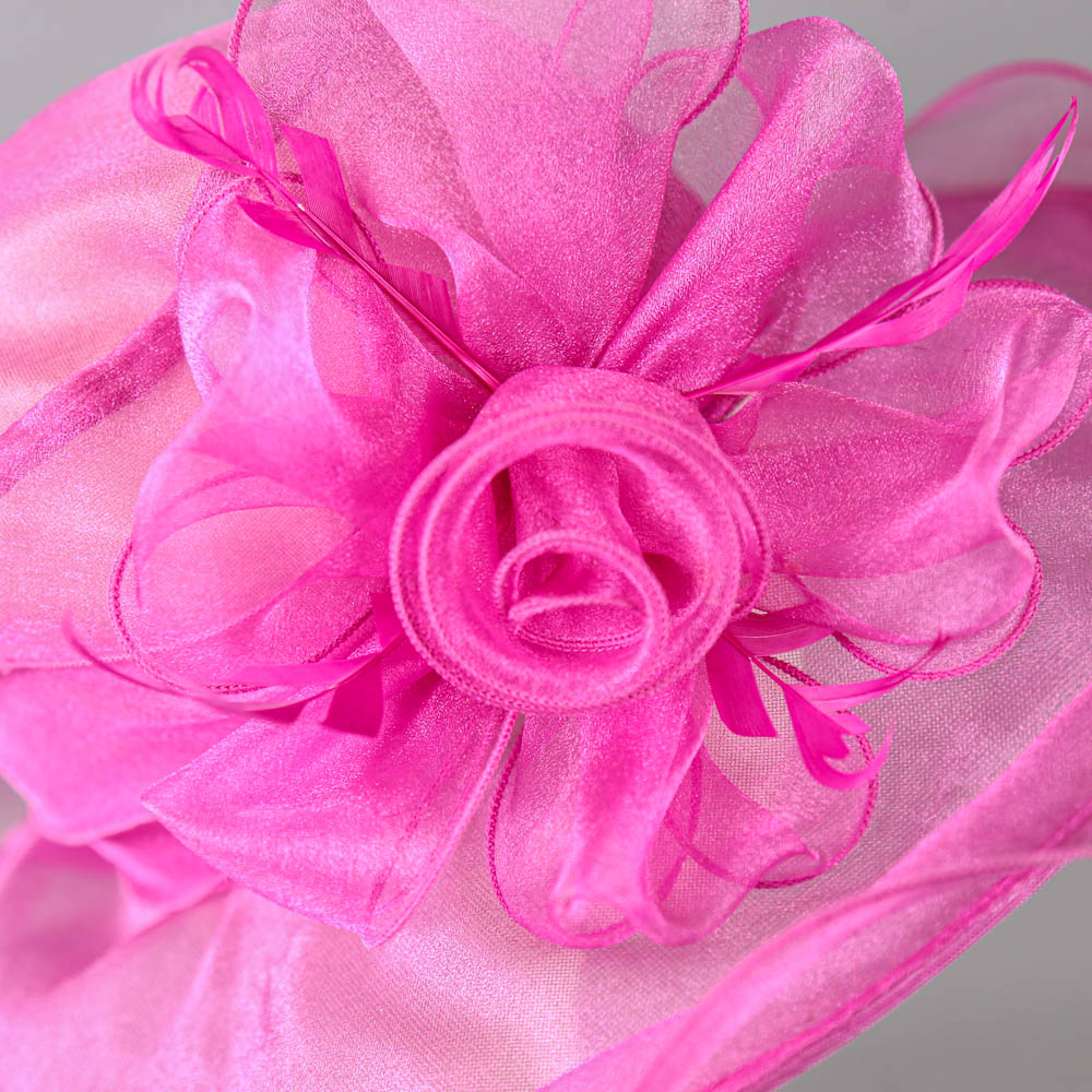 SUZANNE BETTLEY - Pink organza occasion hat, with organza rose and feather detail, internal - Image 4 of 6