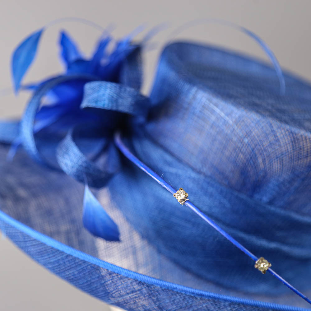PETER BETTLEY LONDON - Royal blue occasion hat, with feather flower and diamanté twirl detail, - Image 3 of 7