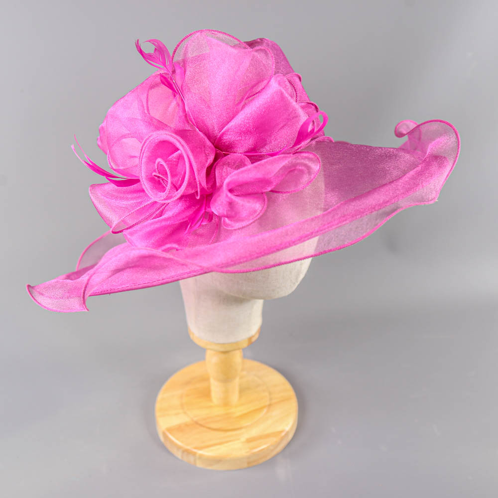 SUZANNE BETTLEY - Pink organza occasion hat, with organza rose and feather detail, internal