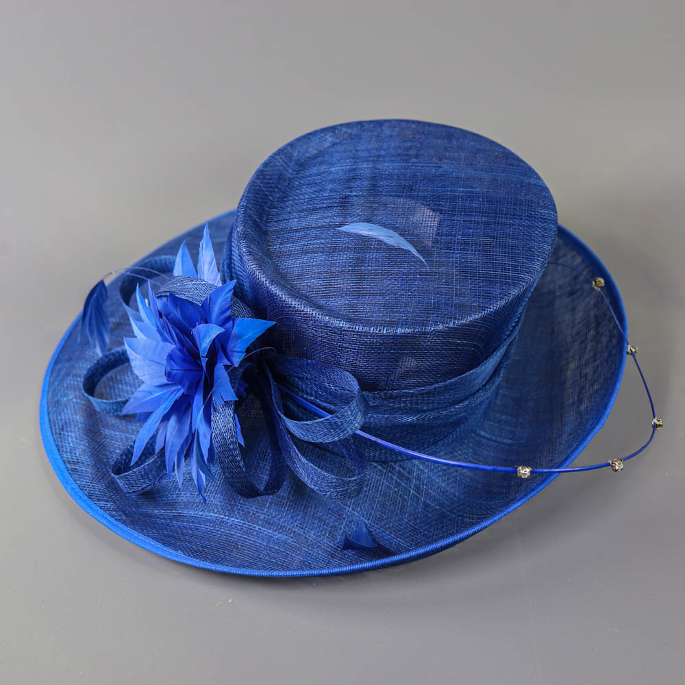 PETER BETTLEY LONDON - Royal blue occasion hat, with feather flower and diamanté twirl detail, - Image 5 of 7