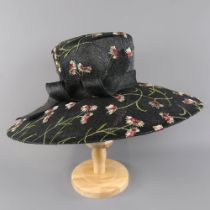 RACHEL TREVOR-MORGAN LONDON - Black floral embroidered occasion hat, with twirl detail and