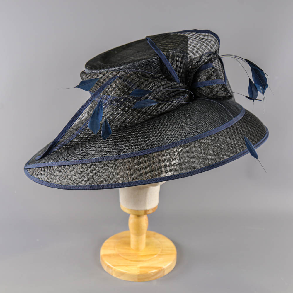 PETER BETTLEY LONDON - Black and navy blue occasion hat, with feather and bow detail, internal - Image 2 of 7