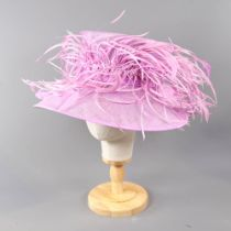 PETER BETTLEY LONDON - Vibrant lilac pink hat, with feather detail, internal circumference 55cm Good