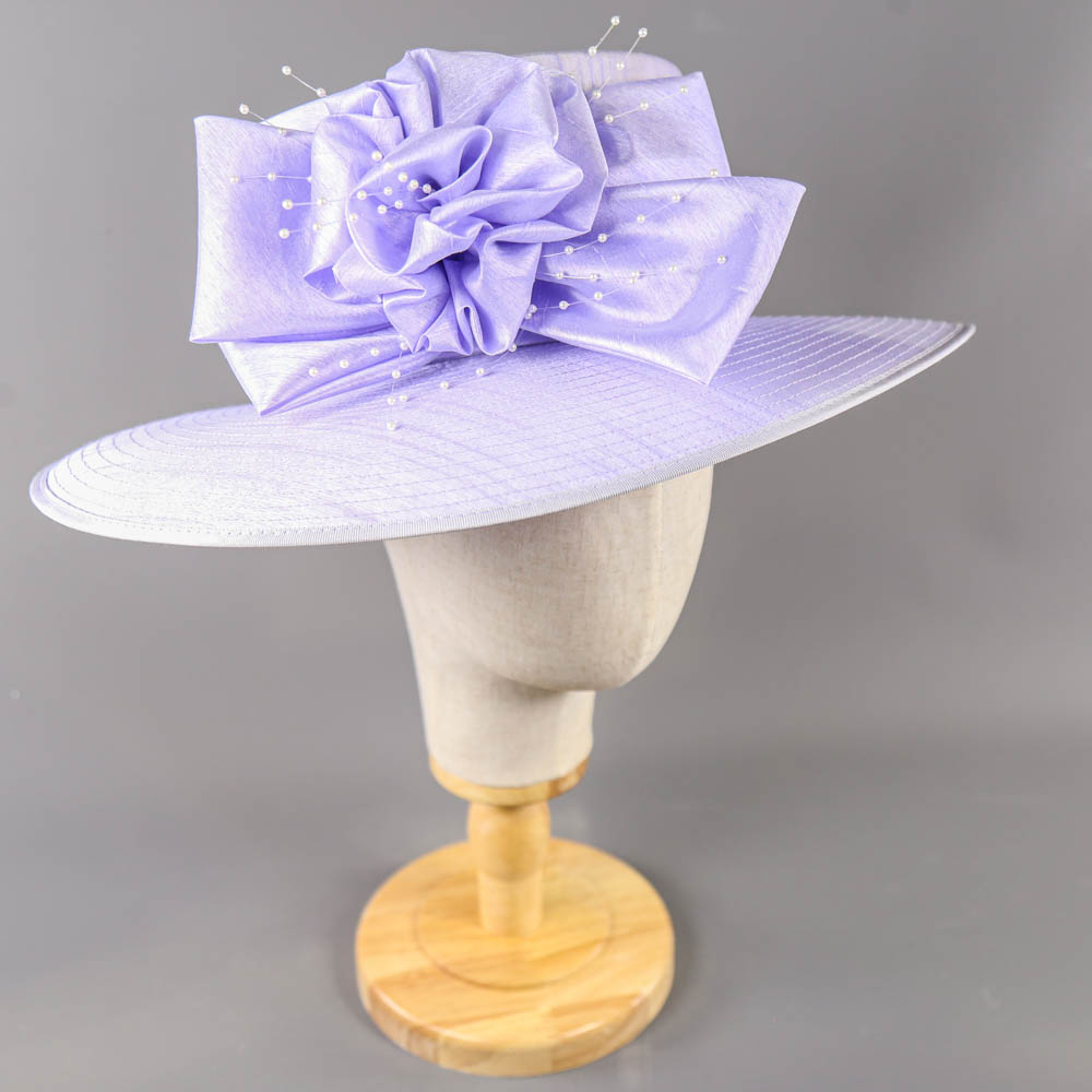 NIGEL RAYMENT - Lavender lilac purple hat, with bow and pearl detail, internal circumference 55cm, - Image 2 of 7