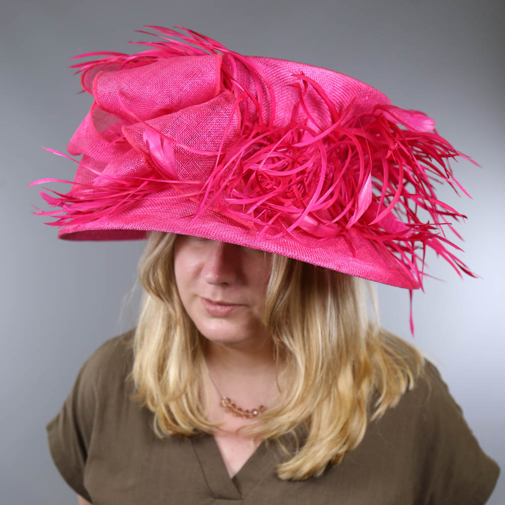 PETER BETTLEY LONDON - Fuchsia pink occasion hat, with feather and bow detail, internal - Image 7 of 7