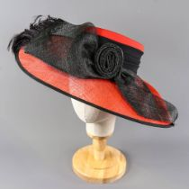 CAPPELLI CONDICI - Red and black occasion hat, with feather detail, internal circumference 55cm,