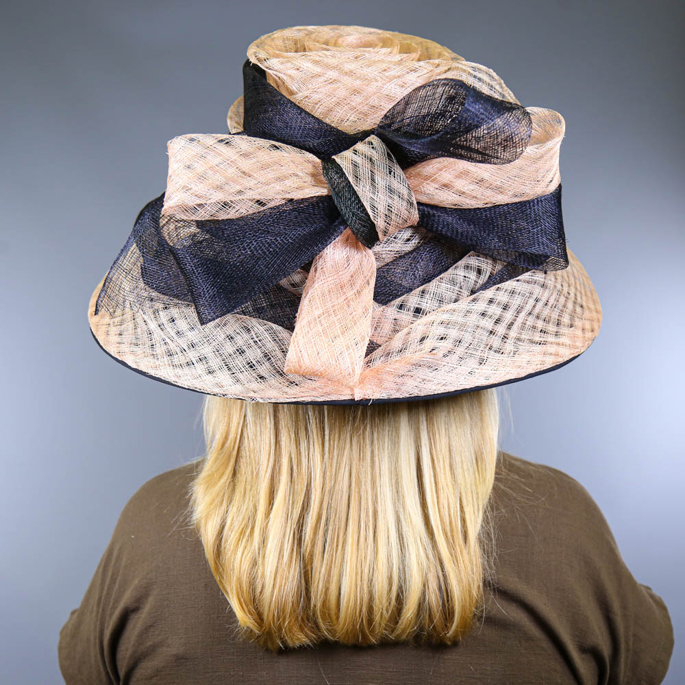 VICTORIA ANN - Navy blue and pink occasion hat, with bow detail, internal circumference 55cm, brim - Image 7 of 7