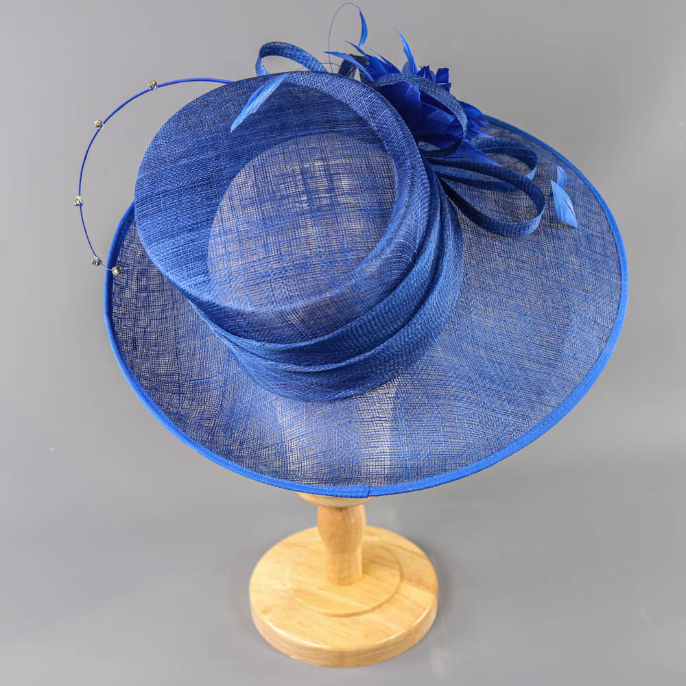 PETER BETTLEY LONDON - Royal blue occasion hat, with feather flower and diamanté twirl detail, - Image 4 of 7