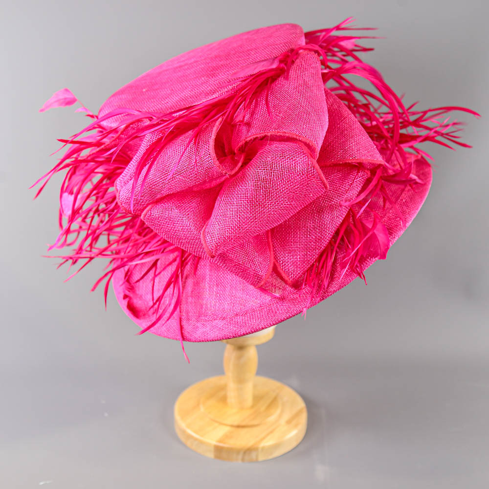 PETER BETTLEY LONDON - Fuchsia pink occasion hat, with feather and bow detail, internal - Image 2 of 7