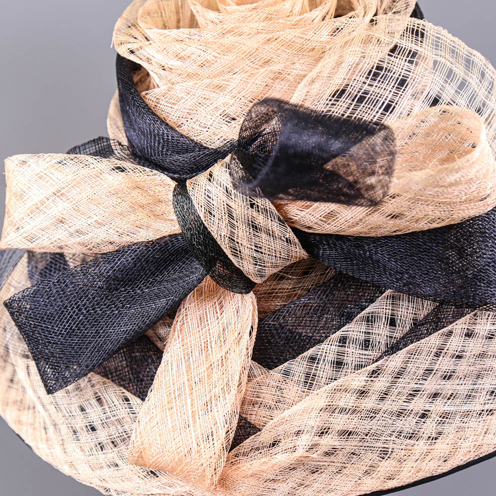 VICTORIA ANN - Navy blue and pink occasion hat, with bow detail, internal circumference 55cm, brim - Image 3 of 7