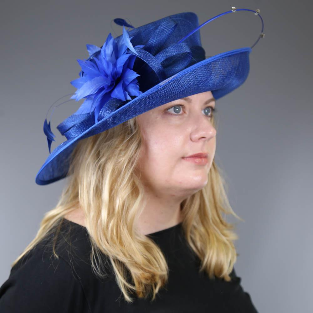 PETER BETTLEY LONDON - Royal blue occasion hat, with feather flower and diamanté twirl detail, - Image 7 of 7
