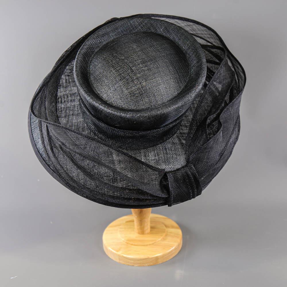 MY HATS GWYTHER-SNOXELLS ENGLISH MILLINERY - Dark navy blue occasion hat, with frill detail, - Image 3 of 7