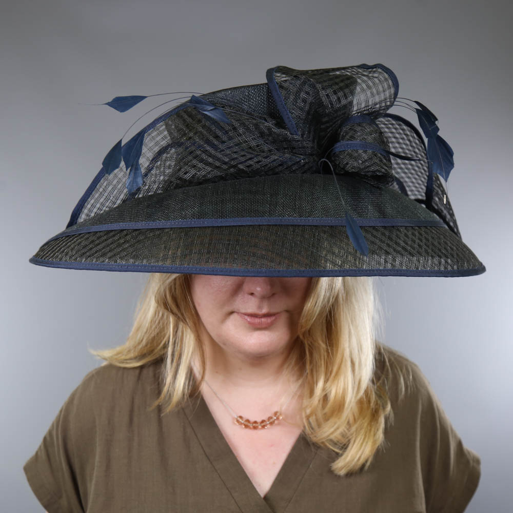 PETER BETTLEY LONDON - Black and navy blue occasion hat, with feather and bow detail, internal - Image 7 of 7