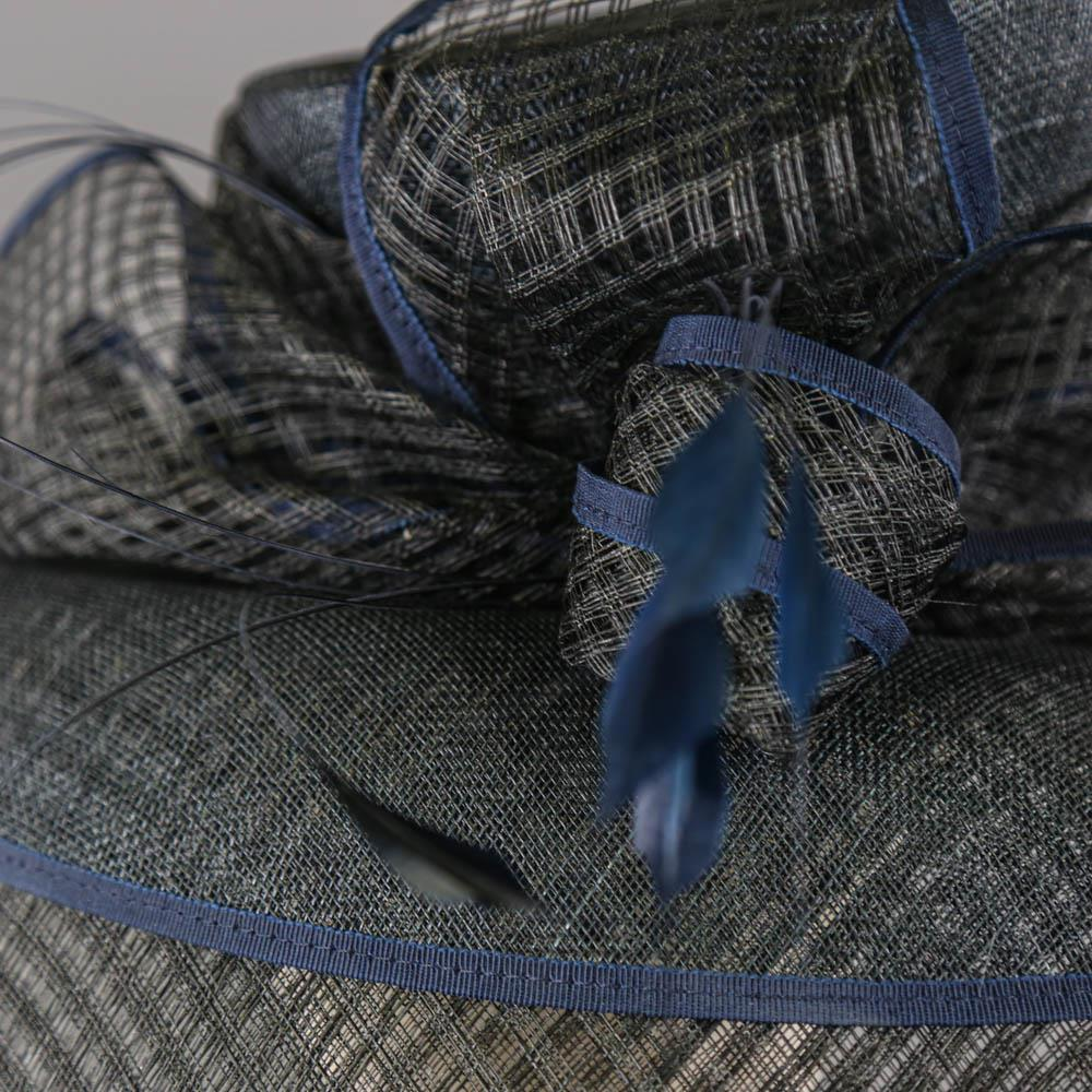 PETER BETTLEY LONDON - Black and navy blue occasion hat, with feather and bow detail, internal - Image 4 of 7