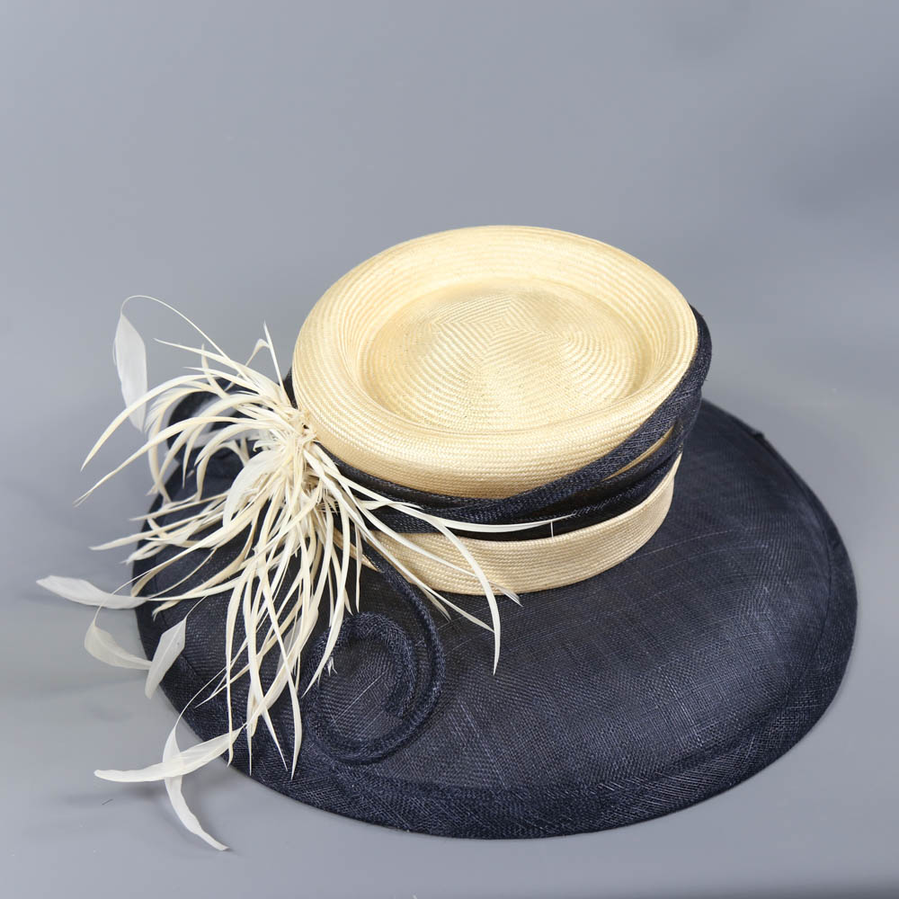 A HAT STUDIO DESIGN - Navy blue and straw occasion hat, with feather and twirl detail, internal - Image 5 of 6