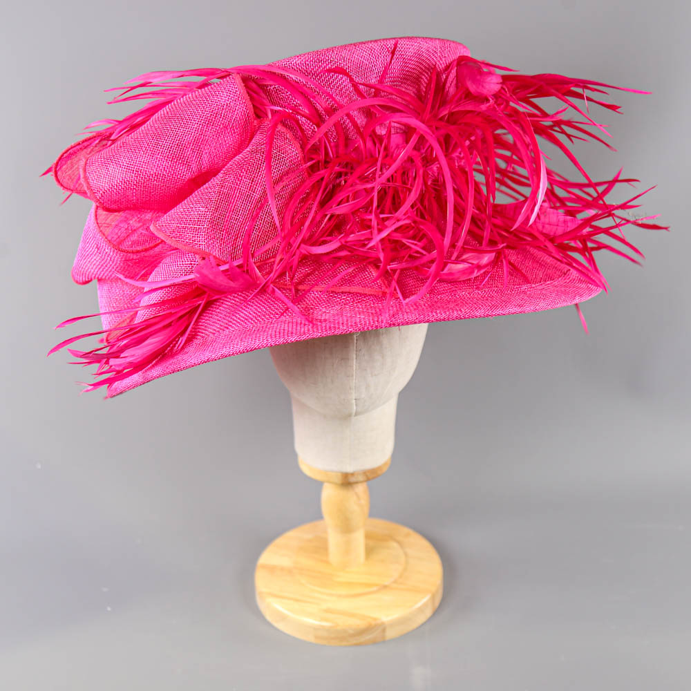 PETER BETTLEY LONDON - Fuchsia pink occasion hat, with feather and bow detail, internal