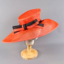 PETER BETTLEY LONDON - Red and black occasion hat with bow detail, new with labels (Henley Royal