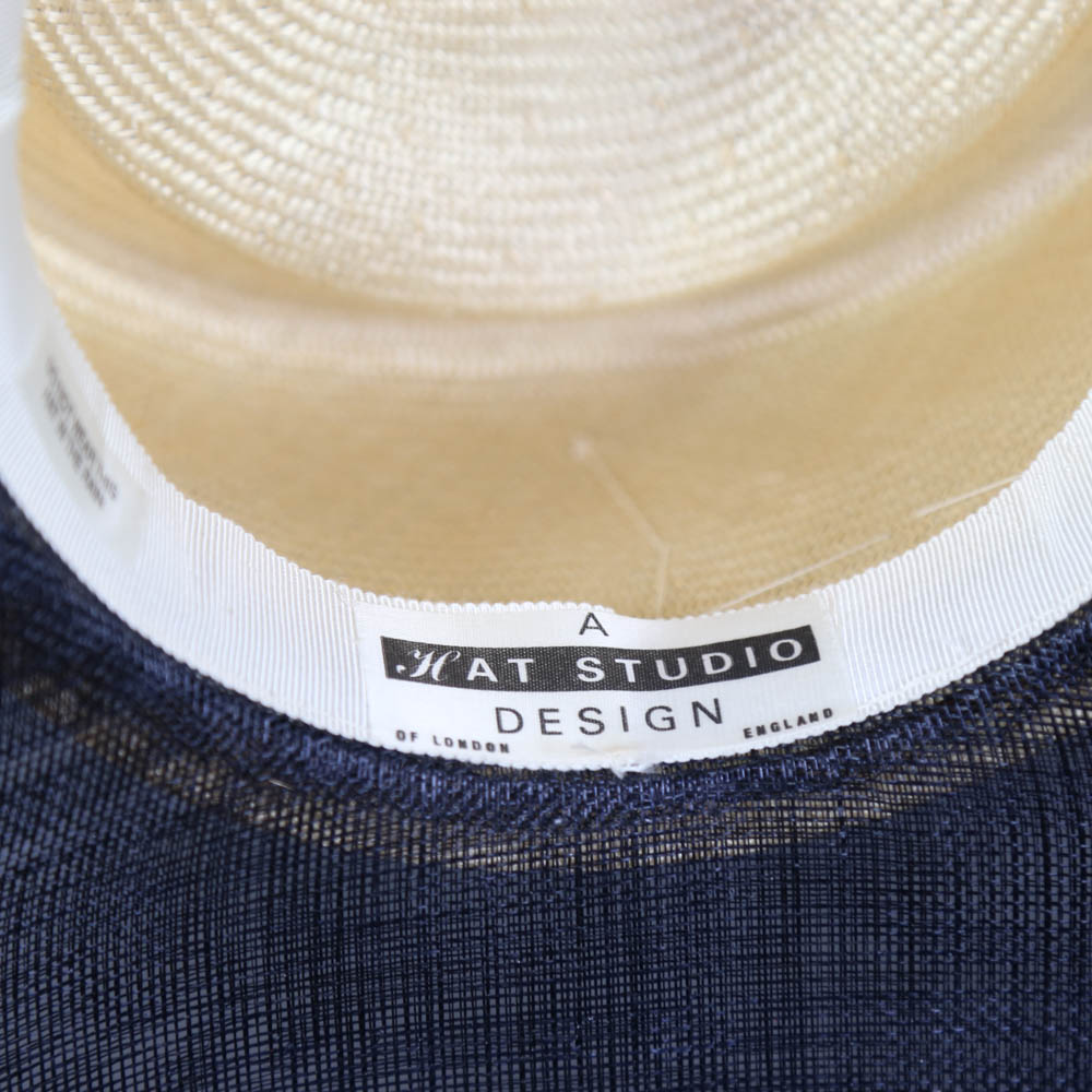 A HAT STUDIO DESIGN - Navy blue and straw occasion hat, with feather and twirl detail, internal - Image 4 of 6