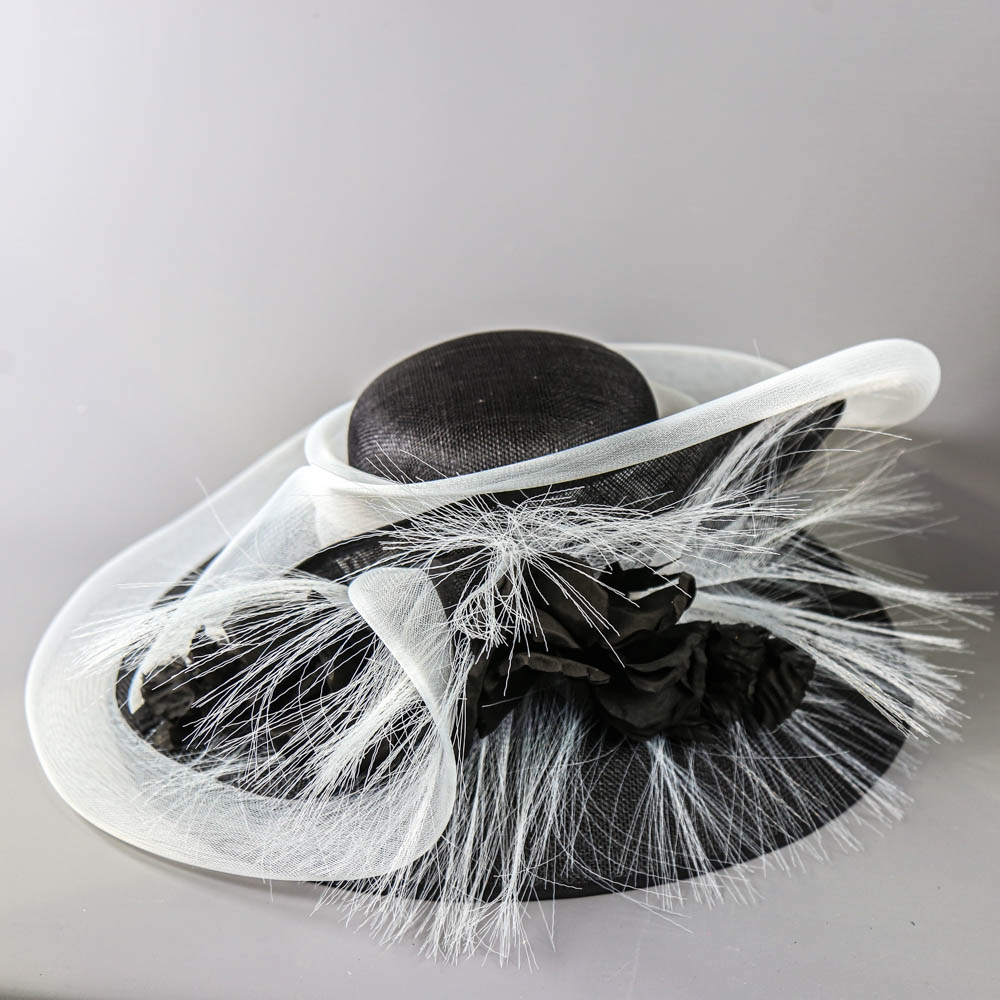 PETER BETTLEY LONDON - Black and white occasion hat, with flower and frayed mesh detail, internal - Image 5 of 8