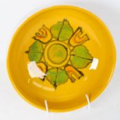 A Poole Pottery yellow ground fruit bowl, model no. 89, diameter 22cm