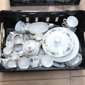 2 boxfuls of china, including Doulton Larchmont, Spode Royal Jasmine, and Crown Ducal dinner service