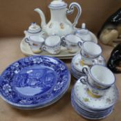 3 Doctor Syntax blue and white transfer printed plates, 26.5cm, an Italian coffee set made for