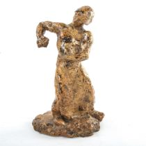 Alfred Jean Halou, treacle glazed sculpted pottery standing figure, incised signature on base,
