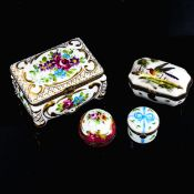 A Limoges porcelain trinket box decorated with flowers, length 9.5cm (A/F), a Limoges spherical