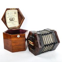 Lachenal & Co concertina, hexagonal rosewood and leather, 16cm across, in original hexagonal