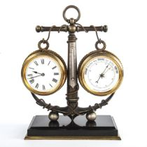 A Victorian combination clock/barometer/thermometer in brass anchor design mount, on brass-mounted