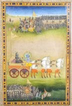 Indian Mughal miniature painting, opaque watercolour and gold on paper, Jaipur School circa 1820,