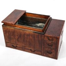 A Japanese hibachi cabinet, with copper liner and small drawers below, length 71cm Very good