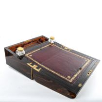 A 19th century brass-bound coromandel writing slope, fitted interior with inset leather top and