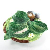 George Jones Majolica, 19th century pottery nut dish in the form of bulrushes and leaves