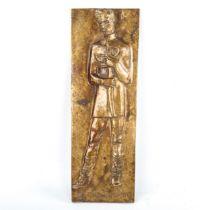 A relief cast bronze plaque depicting Petofi Sandor, signed with monogram MB dated 1948, 43cm x 15cm
