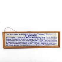 The Hastings & District Electric Tramway Company Limited, acid etched opaque blue glass notice,