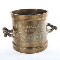 Imperial gallon measure, solid cast-bronze, mid-19th century, inscribed Imperial Gallon, Liberty