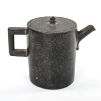 A Japanese cylindrical marble teapot carved from 1 piece of stone, height 12cm, diameter 9.5cm