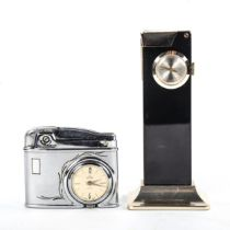 A Rivo table lighter with inset 17 jewel clock, height 10cm, and a Buler retro pocket lighter with