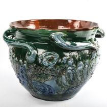 C H BRANNAM for BARNSTAPLE POTTERY - a large scale handmade pottery jardiniere, incised and raised
