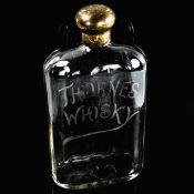 Thorne's Whisky, Antique glass flask with etched advertising logo, plated screw-cap, height 23cm