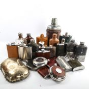 A collection of hip flasks and spirit flasks