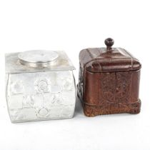 A Scandinavian relief carved wood tobacco box and cover, 11cm across, and a relief moulded Art